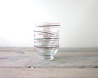 Vintage Glass Berry Bowls with Pink and Black Stripes Set of Four