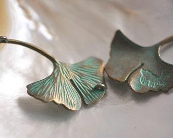 Green Patina Verdigris Ginkgo Leaf Connector Pendants 48x33mm  (#10614)/ 10pcs