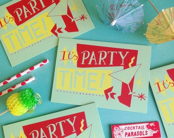 Party Time Screen Printed Card - Recycled Card - Silkscreen Card