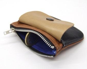 Leather zip purse in tonal tan