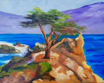 Cypress Tree California Coast Ocean Landscape Modern Impressionist Original Oil Painting by Rebecca Croft
