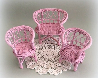 Doll Furniture 1:6 Scale Miniature Furniture Doll Chair Miniature Chair Pink Furniture Doll Display Pink Chair Wicker Chair Barbie Blythe