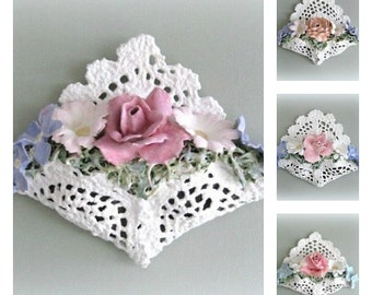 Lace Rose Wall Ornament Shabby Chic Decor Victorian Decor Tussie Mussie Table Decor Table Ornament Pink Rose Floral Arrangement Clay Flower