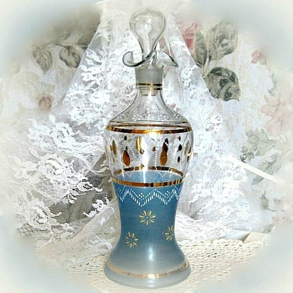 Antique Collectible Decanter. Antique Glass Decanter Bottle w/ Stopper Hand Painted Glass Handpainted Bohemian Bedroom Decor Bathroom Vanity