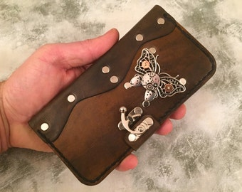 Handmade leather iPhone 6 Plus case - steampunk iPhone case - leather iPhone 6/6S cover - butterfly distressed leather iPhone 6 Plus case