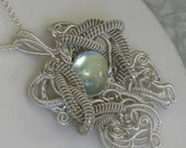 RESERVED for Patty Tobin: Aquamarine and Sterling Wire Weave