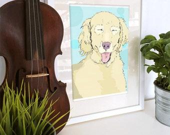 Golden Retriever Derp Face Dog Print 8 by 10