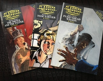 Set of three Classics Illustrated by Mark Twain: The Prince and the Pauper, Tom Sawyer, and Pudd'nhead Wilson