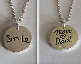 DOUBLE SIDED Memorial Jewelry Mom / Dad Silver Pendant  - Your Actual Writing or Memorialize Your Lost Loved One- Made to Order