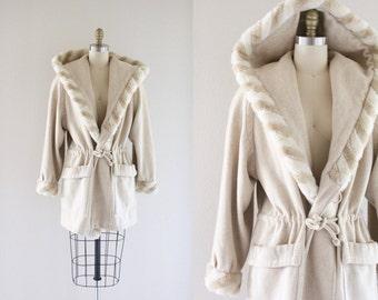 S A L E wool + faux fur hooded coat