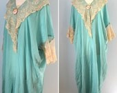 1920s silk dressing gown / 20s aqua silk and lace cocoon nightgown  / Antique boudoir gown