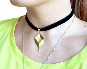 Velvet Choker, Geometric Choker Necklace, Modern Boho Necklace, Short Geometric Necklace