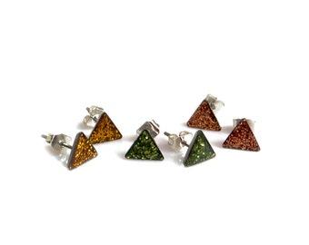 Triangle Stud Earrings, Minimal Everyday Studs, Sparkly Little Stud Earrings, Christmas Stuffer