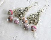 Chandelier dangle earrings Boho Pink and White earrings Paper Bead earrings Large dangles