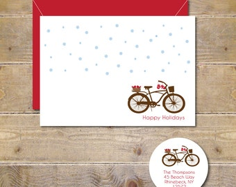Christmas Cards, Love Birds, Christmas Card Set, Holiday Cards, Bicycle, Snowflakes, Rustic, Christmas, Handmade, Mittens