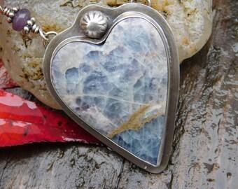 Kaleidascope Prism Stone and Lavender Lepidolite  Necklace