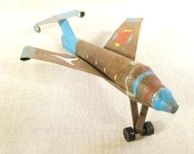 Toy Airplane , Folk Art Plane , Airplane , Metal Toys , Primitive Toys , Handmade , Airliner , Planes ,Folk Art ,Folk Art Toys ,Made by Hand