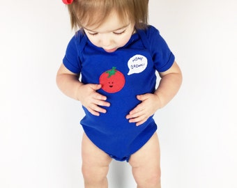 "Baby onesie ""Home Grown"" Tomato bodysuit for baby, Home birth baby, unique baby onesie, baby shower gift"