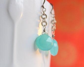 Dangle Drop Earrings - Chalcedony Earrings - Festival Earrings - Earrings Gemstone - Gem Earrings - Gemstone Earrings -