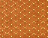 Green and Tan Diamond Design on Burnt Orange 100% Cotton Quilt Fabric, Kim Diehl Fabric, Welcome Wagon Collection, HEG6564-30