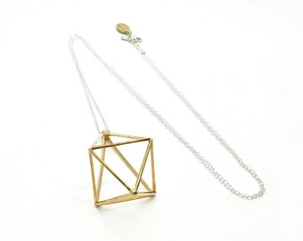 Prism Power // Geometric Necklace // 3D Printed Steel Brass Silver Necklace // Festival Wear, minimal, long necklace