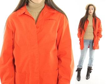 Vintage 70s Jacket Orange Canvas Coat Collared London Fog Short Trench 1970s Medium M