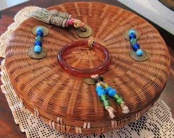 Antique Round Woven Wicker Straw Chinese Sewing Box with Glass Beads, Bracelet, Green Tassels & Coins