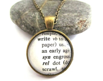 WRITE Definition Necklace, Writer's Necklace, Dictionary Necklace, Silver or Bronzed, Writer's Gift