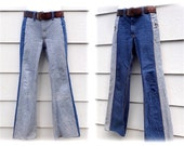 "Vintage 1970's LEE Reversible Bell Bottom Denim Jeans- 2 Tone Low Ride Hip Huggers W/Brass Zippers- 32""w"