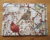 """Winter Birds - 7"""" Zippered Pouch - Lined - Berries - Branches"""