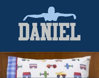 Swimmer Vinyl Wall Decal Custom Name Wall Art Swimming