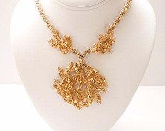 Vintage Napier Gold Coral Pendant Necklace 18 Inch Gold Chain 3 Inch Pendant 1971 Book Piece