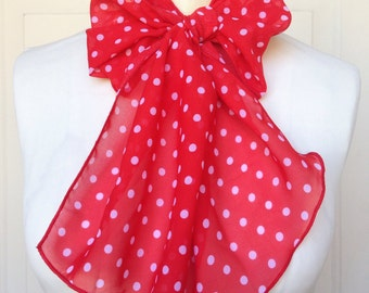 Multi Use Chiffon Hair Scarf - White and Red Polka Dot