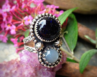 October Night - Blue Goldstone and Black Moonstone Sterling Silver Handcrafted Ring Size 7.5