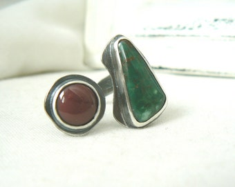 Sterling Silver Duet Ring with Turquoise and Mookaite Gemstone - Jewelry 925 - Size 7.5