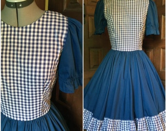 Navy Blue and Gingham Full Skirt Dress Country Style