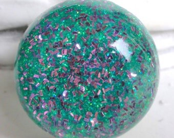 Sea Green & Pink Glitter Resin Bubble Ring, Aqua Sea Foam Mermaid Glitter Bubble Ring, Mint Green Lavender Glitter Statement Resin Dome Ring