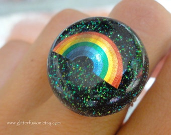 Black Rainbow Vintage Inspired Resin Dome Ring, Black Iridescent Magic Rainbow Fantasy Resin Bubble Ring, ROYGBIV LGBT 70's Inspired Ring