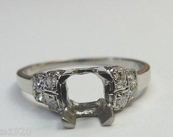 Antique Diamond Platinum Engagement Ring Setting | Will Hold 6MM-6.5MM ES-172