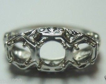 Antique White Gold Art Deco Engagement Ring Setting
