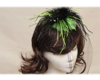 Lime Green and Black Fascinator
