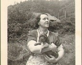 They Call it Puppy Love Vintage Photo  K18903 Woman wearing Apron Holds Cute Little Dog