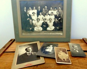 Antique Photos,Vintage Photography,Lot of 5, Photo Mats, Antique Framing