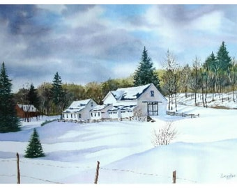 Winter scene home decor, country farm snowy day, Christmas ornament, gift under 20, stained glass, wall art, mini framed art landscape
