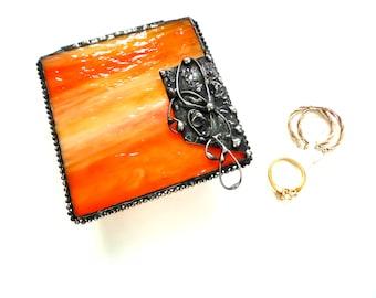 Stained glass jewelry box, orange glass trinket box, jewelry storage, gift for her, small box, hinged box, glass beveled box