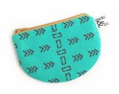 Fiji Mini Pouch in turquoise, Screen printed fabric design, Small pouch for coins, credit cards, jewelry, and more
