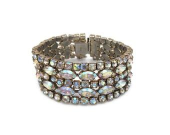 Sherman Bracelet, Rhinestone Bracelet, Aurora Borealis, Gold Tone, Vintage Bracelet, Vintage Jewelry, Vintage Bride, Wedding Jewelry