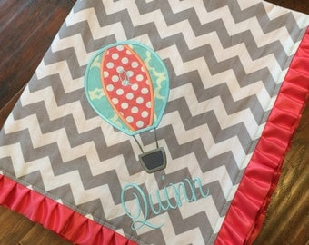 Air Balloon Baby Blanket -Minky Baby Blanket- Chevron Blanket- Applique Baby Blanket- Nursery Blanket