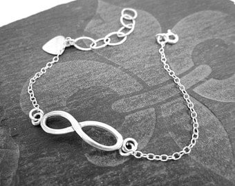 Thin Silver Bracelet -- Sterling Infinity Bracelet -- Simple Sterling Charm Bracelet -- Figure 8 Bracelet -- Bracelet Gift for Teen Girl