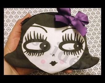 Dolly Coin purse Gothie Dolly CoinPurse Zipper Pouch Coin Bag with Polka Dot Bow Spooky Cutie Dolls